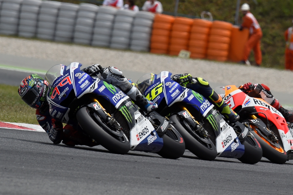 Jorge Lorenzo nel duello con Valentino Rossi