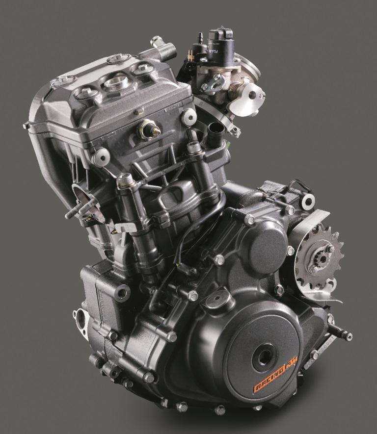 Il compattissimo motore della Duke 390