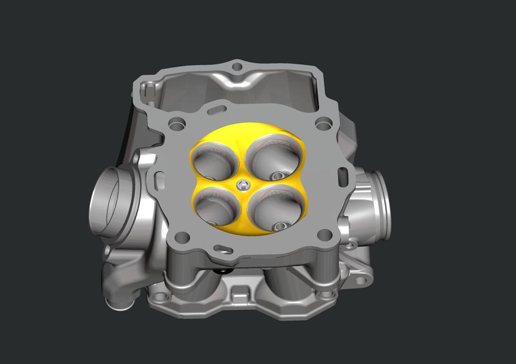 La testata della gamma RR, valvole in titanio sulle cilindrate più piccole