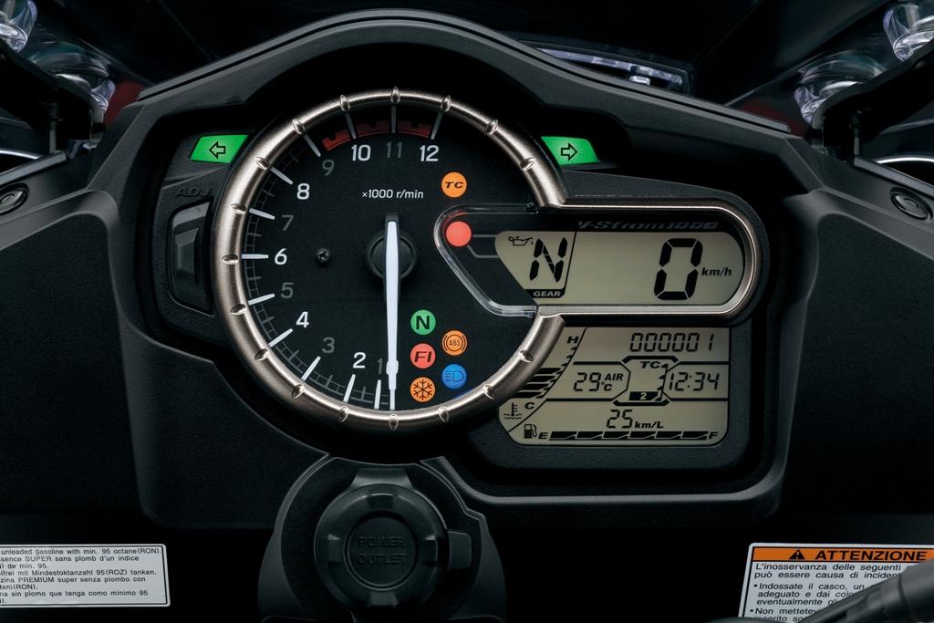 La completa strumentazione della Suzuki V-Strom 1000 ABS