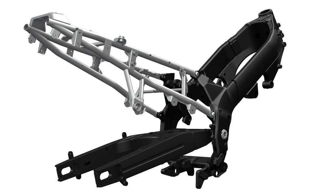 Il telaio ed il forcellone della Suzuki V-Strom 1000 ABS
