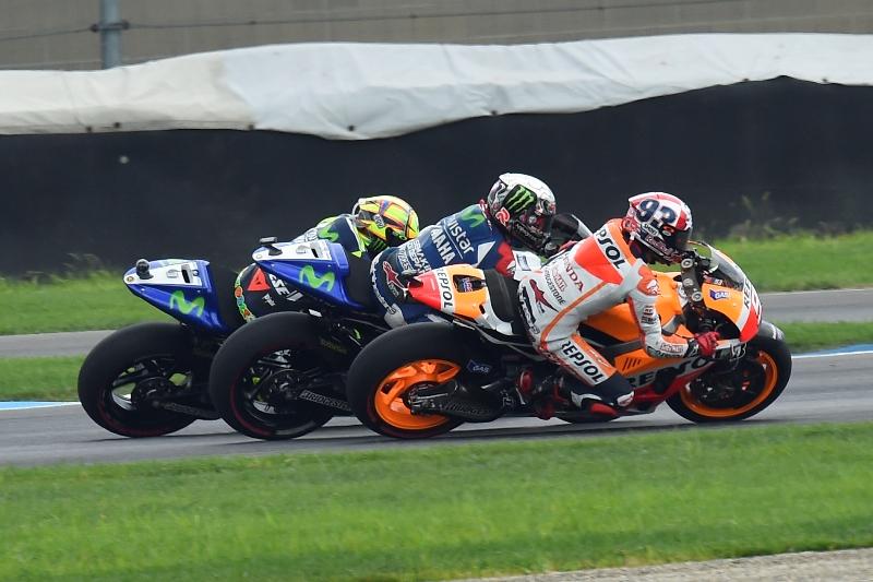 Le prime fasi di gara a Indy 2014: Marquez, Lorenzo e Rossi
