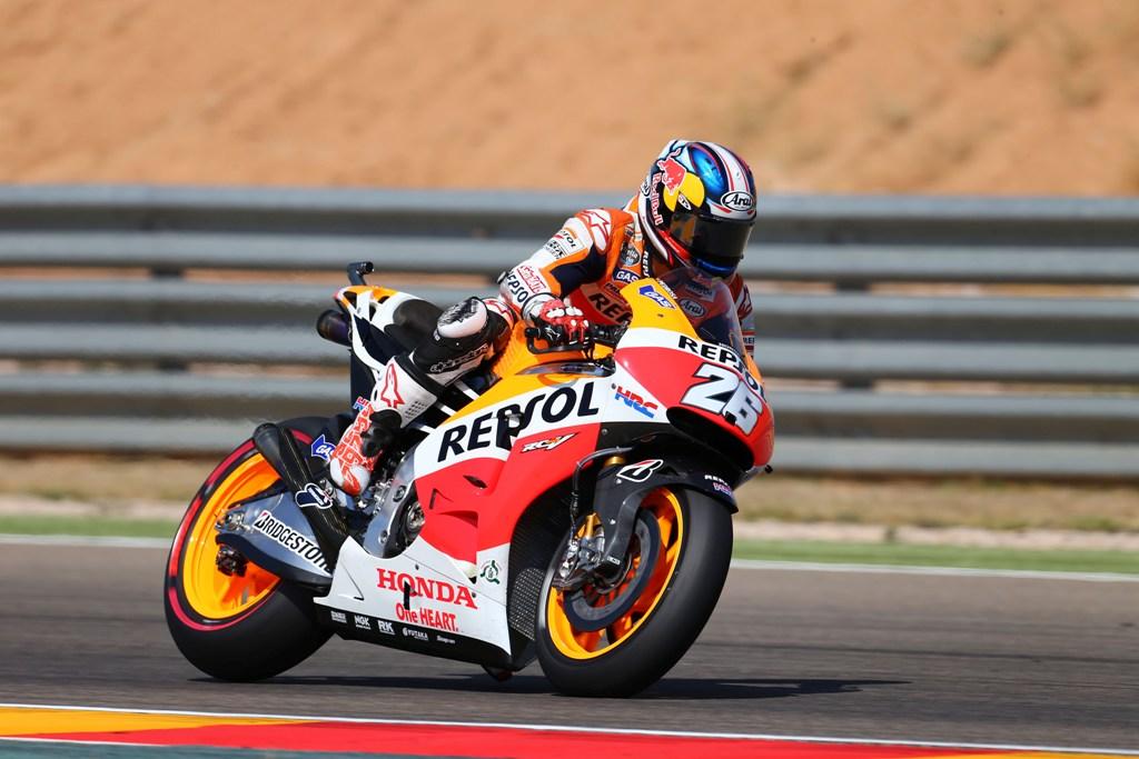 MotoGP 2014: Aragon, Dani Pedrosa è caduto sotto la pioggia come Marquez
