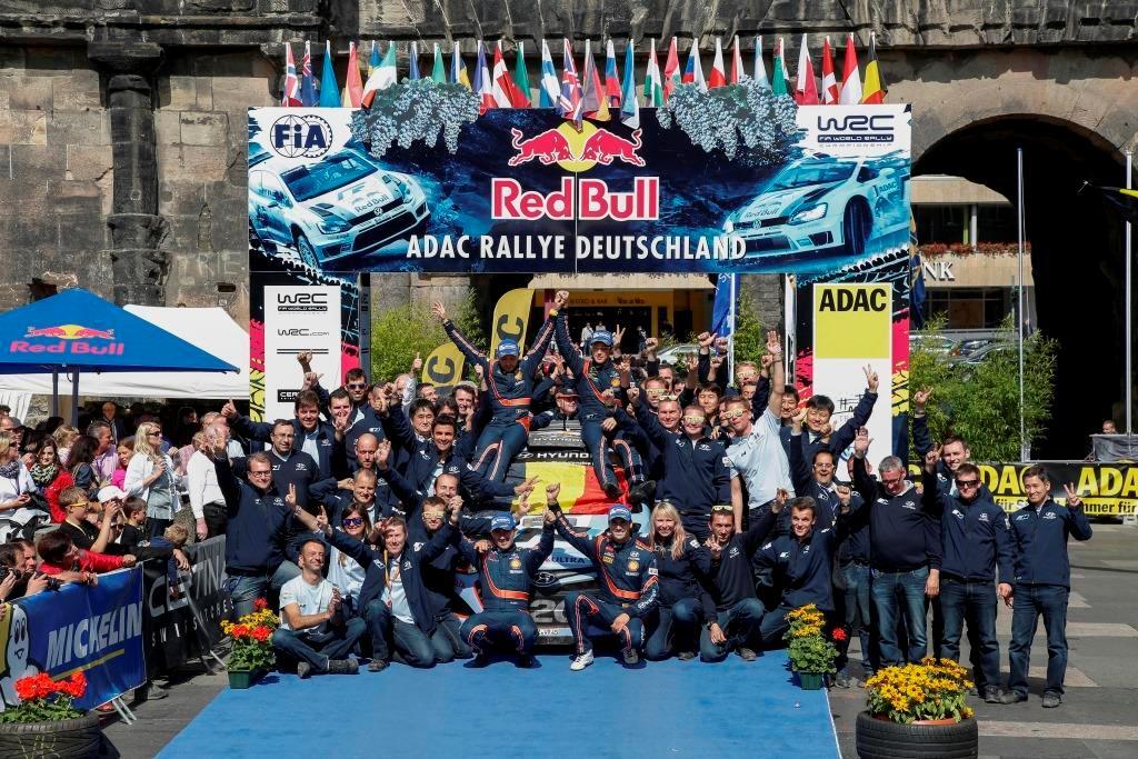 WRC 2014: podio tutto Hyundai in Germania, podio di squadra