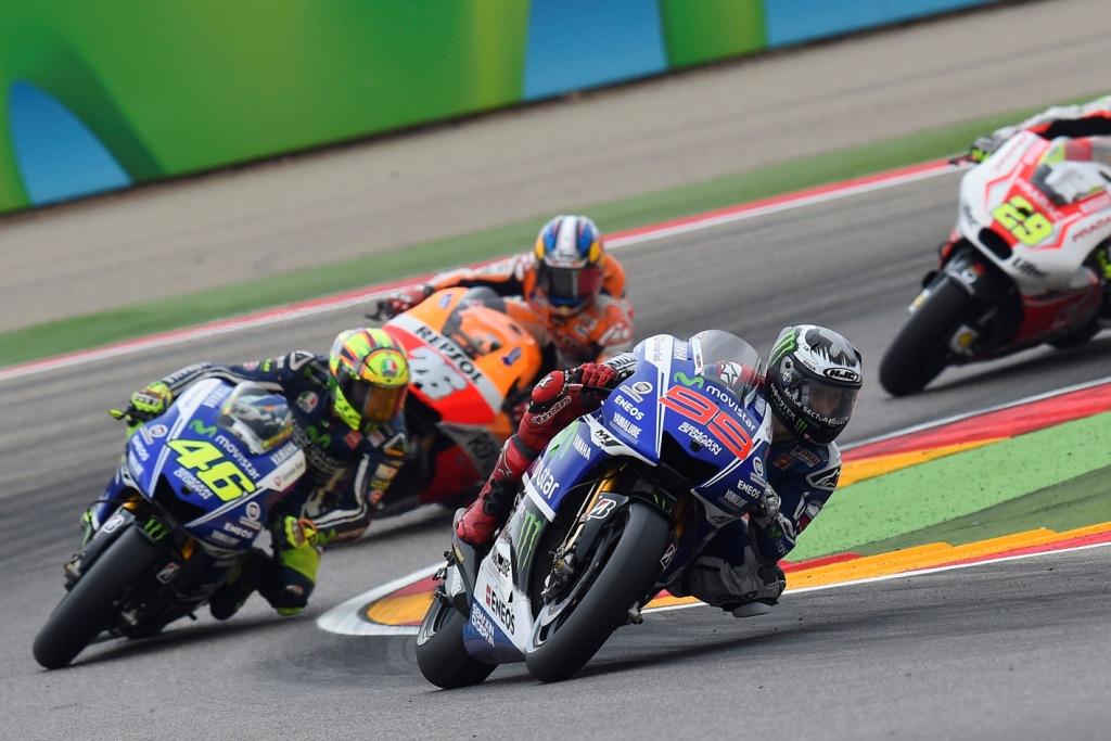MotoGP, Aragon 2014: i primi giri con Lorenzo, Rossi, Marquez e Pedrosa