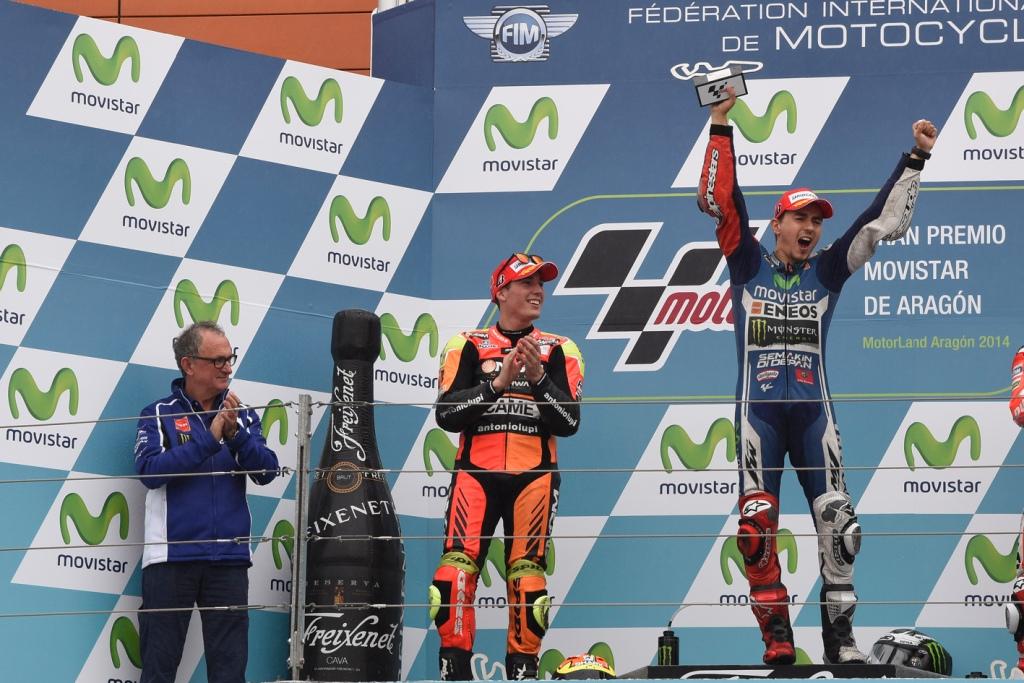 MotoGP 2014: Aragon il podio con Lorenzo, Espargarò e Crutchlow