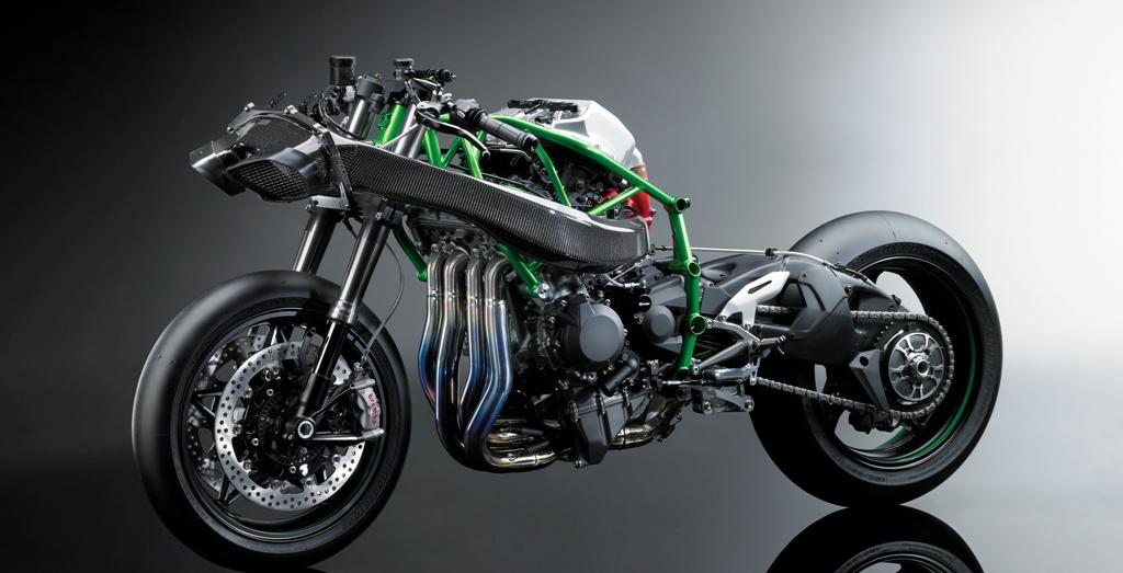 La Kawasaki H2R vanta telaio a traliccio ed un peso ridotto
