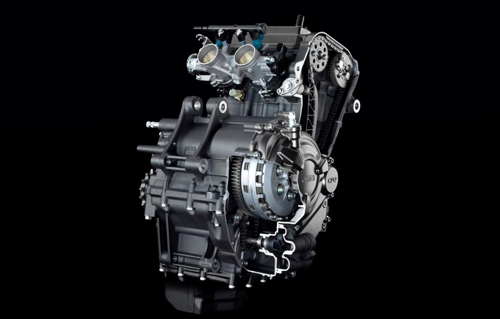 Il bicilindrico della Yamaha MT-07, compatto e capace di erogare quasi 75 Cv
