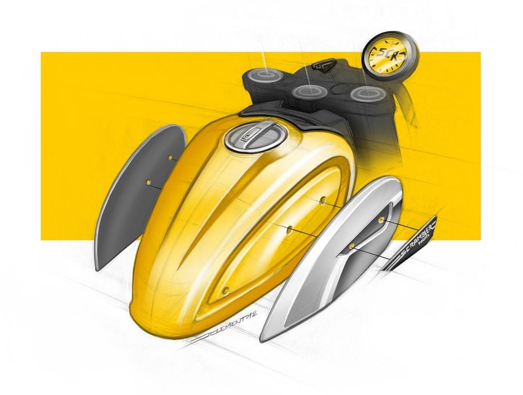 Lo sketch del serbatioio della Scrambler Ducati