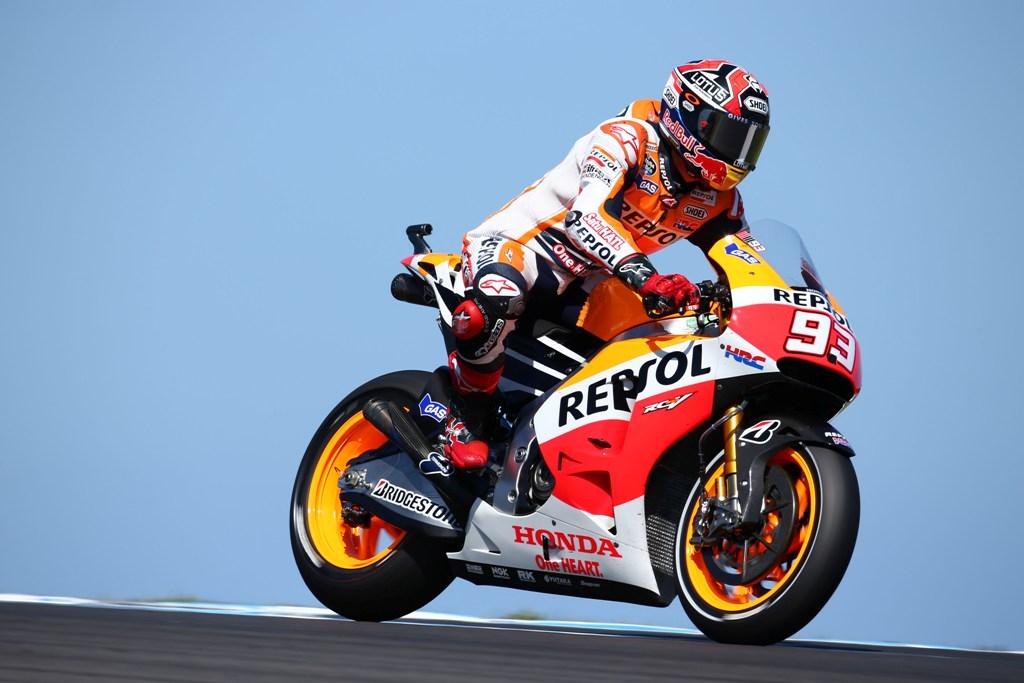 MotoGP 2014, Australia, Marc Marquez cade quando era primo in solitaria