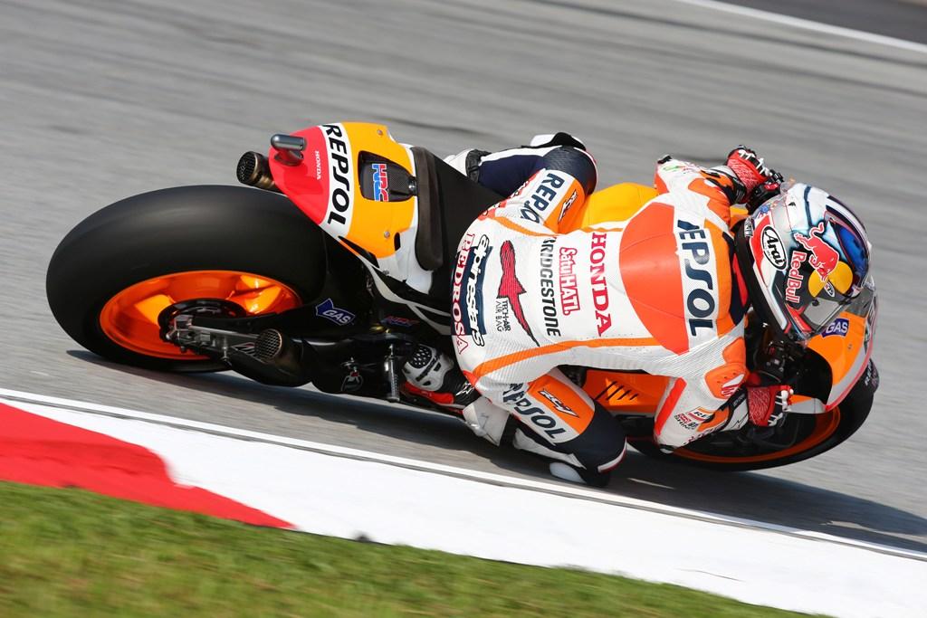 MotoGP 2014, Malesia, Dani Pedrosa, caduto al 2° giro e poi di nuovo...