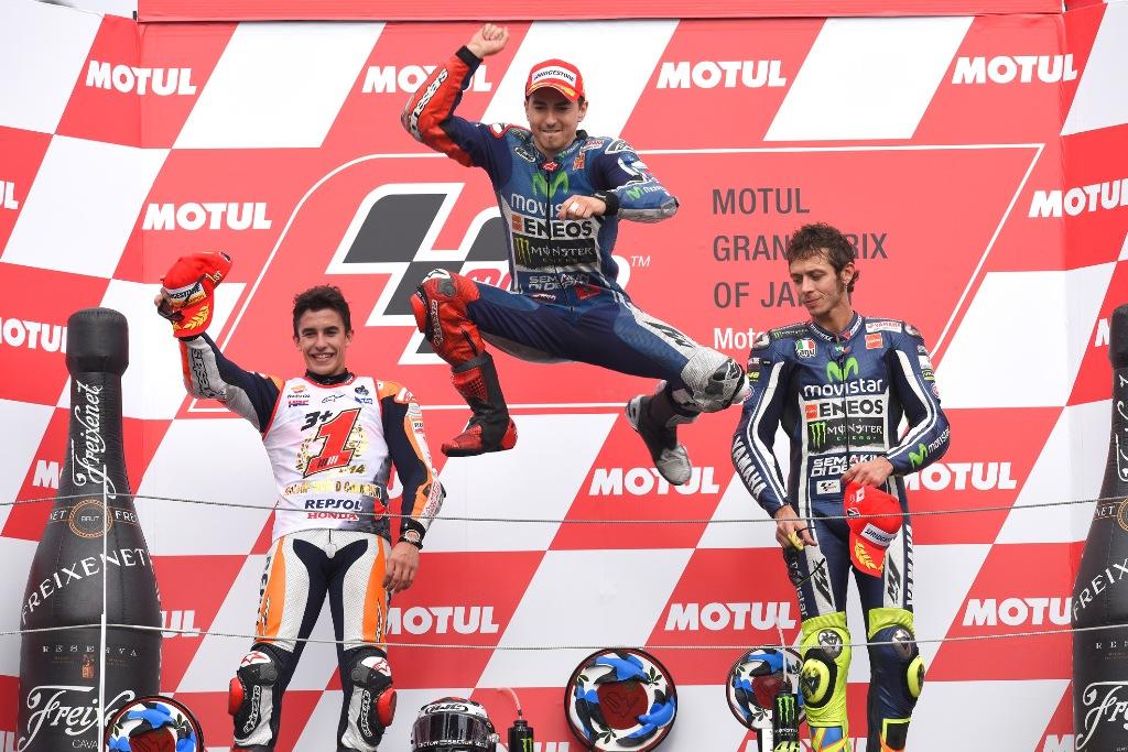MotoGP 2014: podio di Motegi Lorenzo, Marquez e Rossi