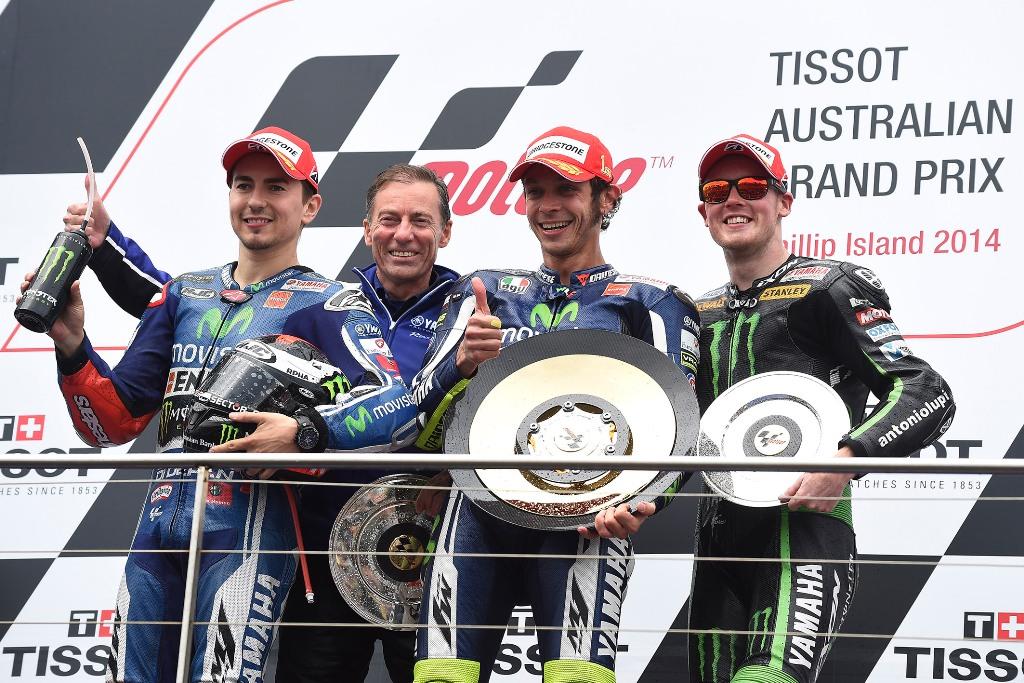 MotoGP 2014, Australia, podio, Rossi, Lorenzo e Smith