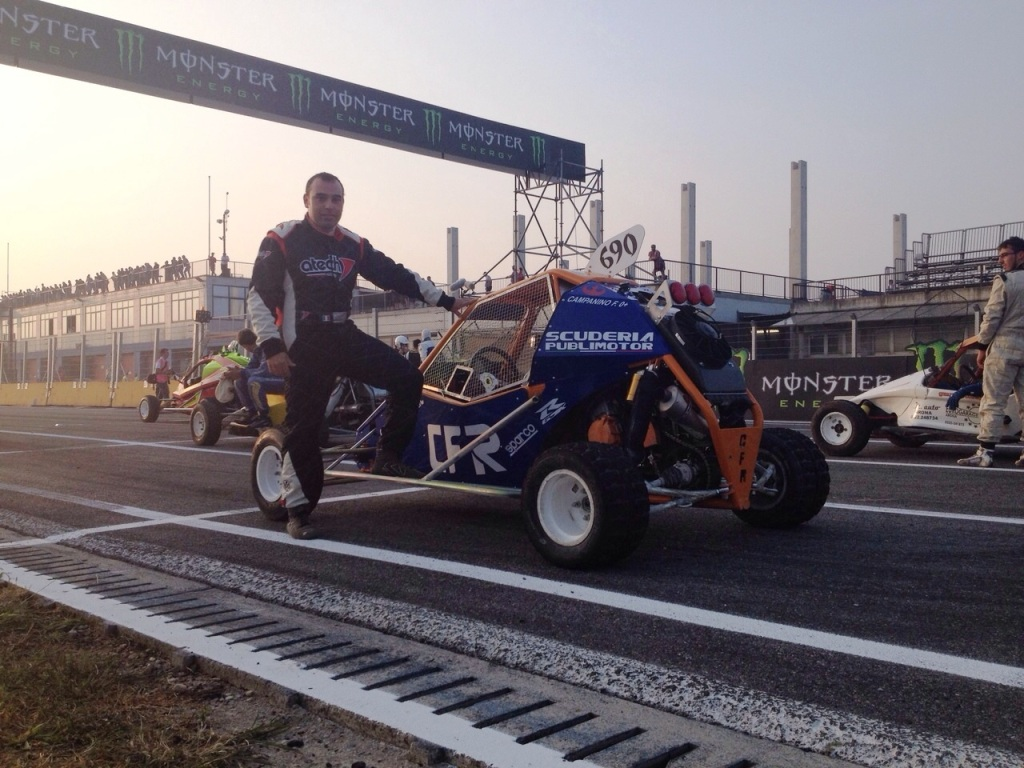 Francesco Campanino prima della partenza con il kartcross CFR Engineering