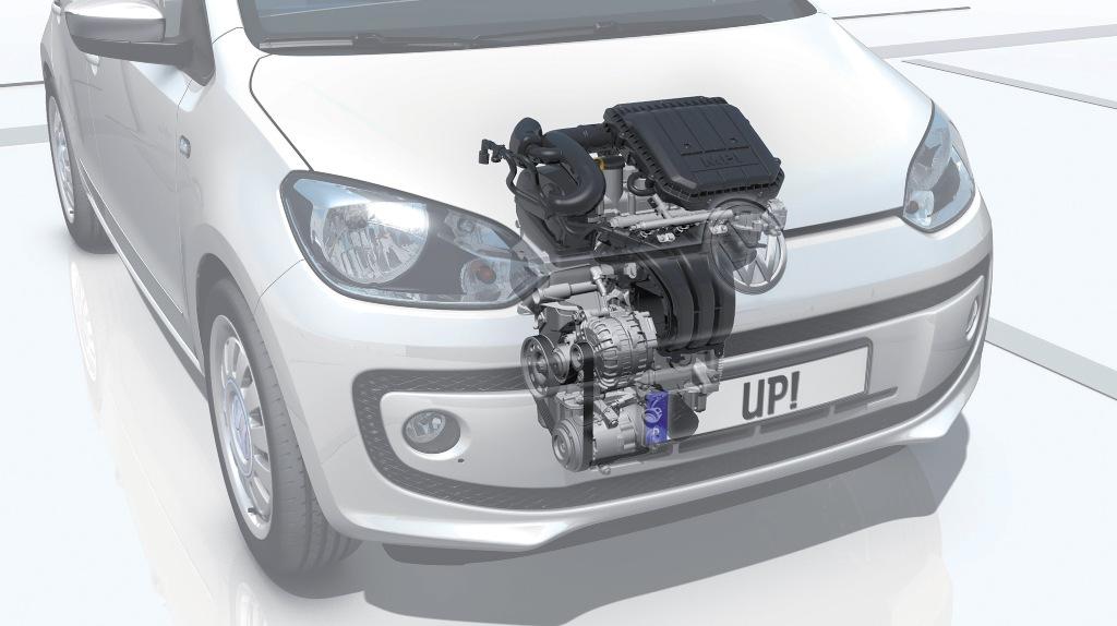 VW Up! il posizionamento del motore, molto compatto ed economico, ma sempre brillante