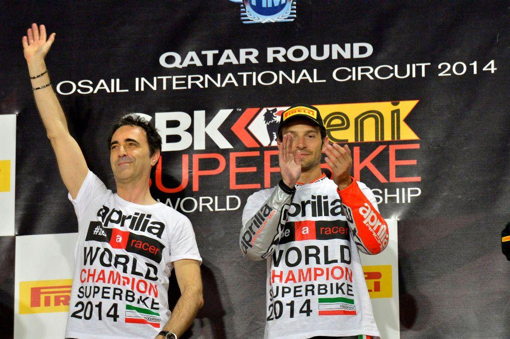 SBK 2014: Romano Albesiano e Sylvain Guintoli sul podio del Qatar