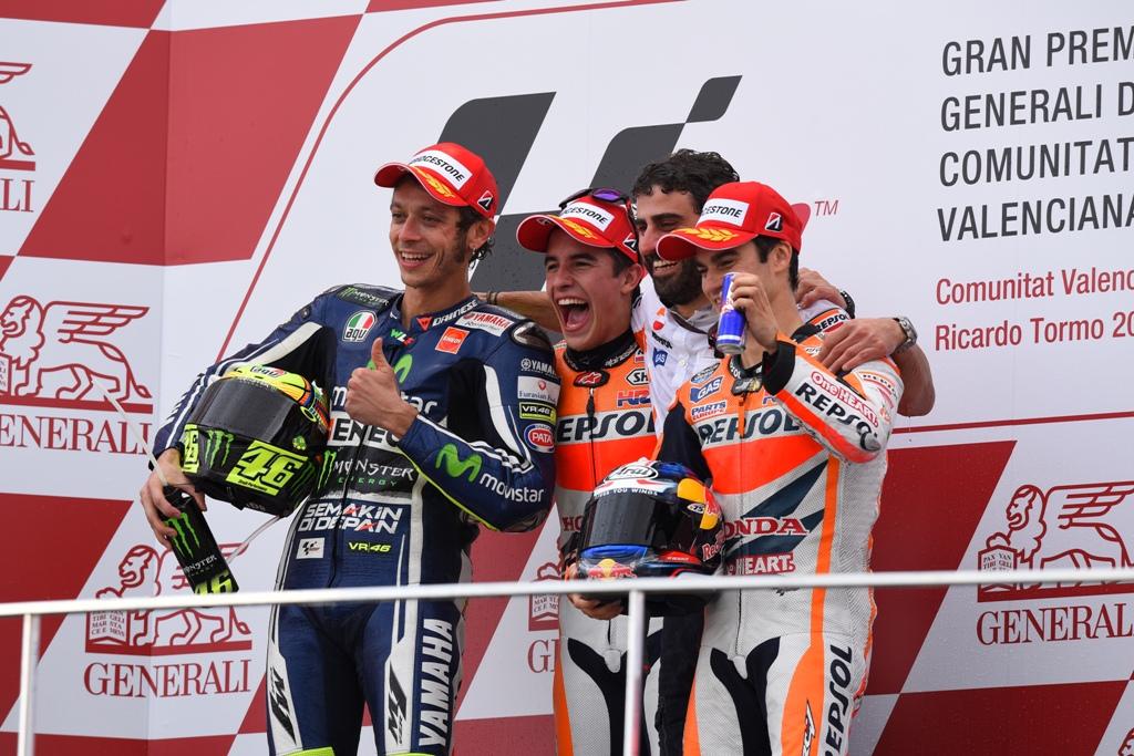 MotoGP 2014 Valencia, podio, Marquez, Rossi e Pedrosa