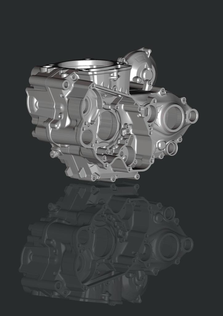 Beta RR 350 2015, i carter motore in immagine CAD sono stati ridisegnati
