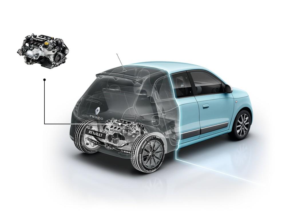 Lo schema motore/pianale della Nuova Twingo, motore posteriore, massima abitabilità