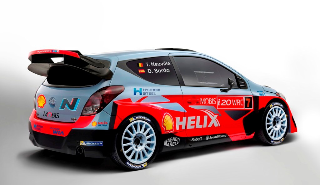 WRC 2015, i20 WRC, da notare l'ala posteriore a sbalzo