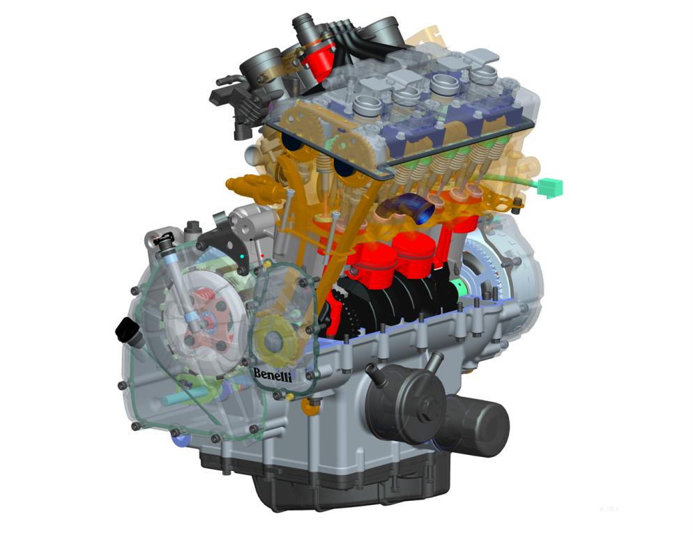 Il disegno CAD del quattro cilindri Benelli della BN600R