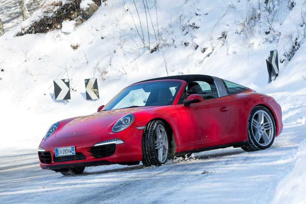 Il test della 911 Targa 4 sul percorso della Rieti/Terminillo, atipico per le condizioni di gara