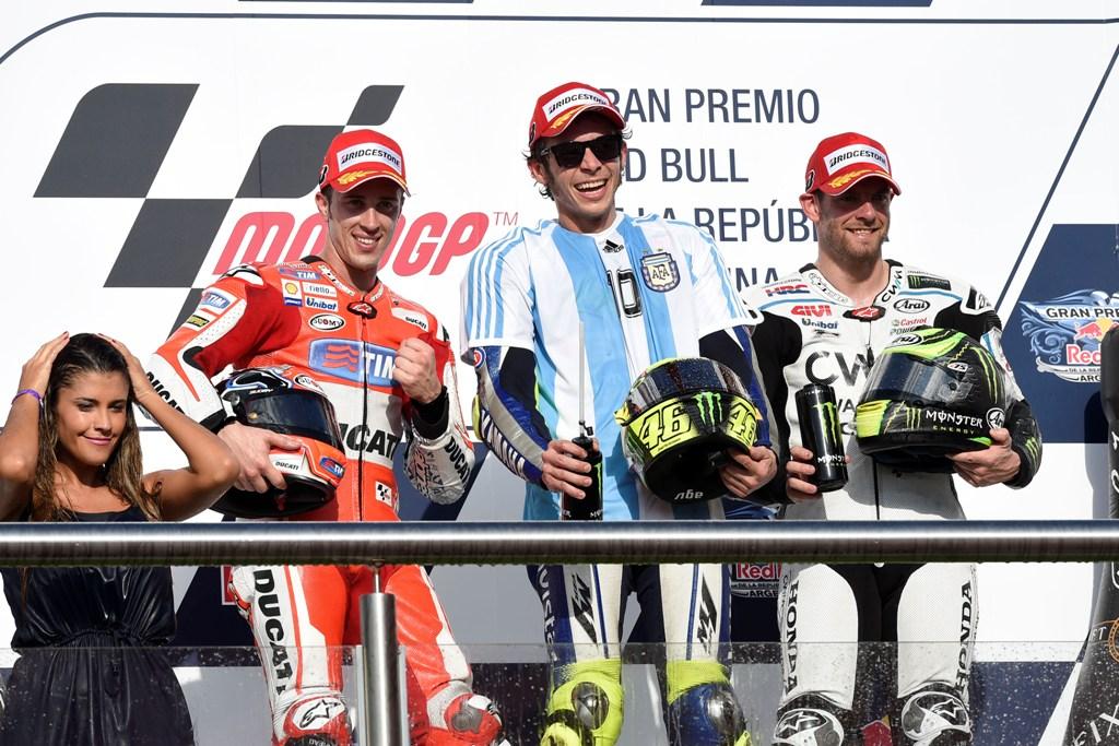 MotoGP 2015, podio GP Argentina, Rossi, Dovizioso e Crutchlow