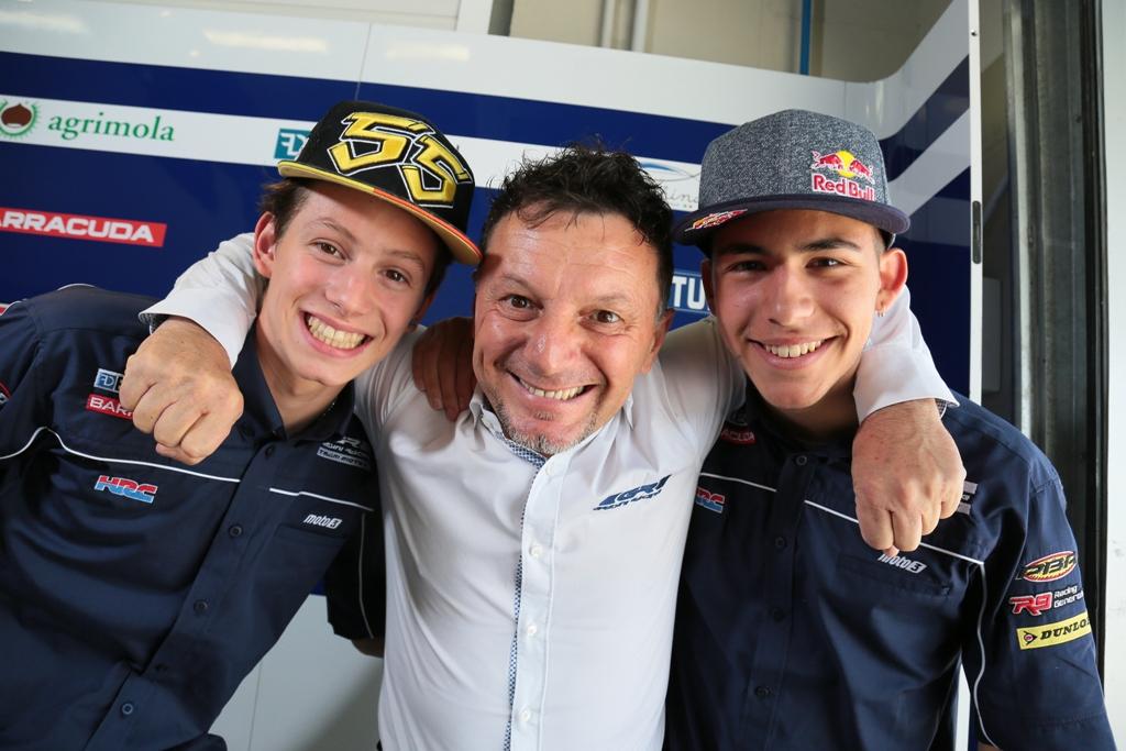Fausto Gresini con Bastianini e Locatelli Moto3