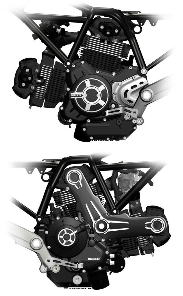 Ducati Scrambler, lo sketch del motore desmo inserito nel telaio a traliccio