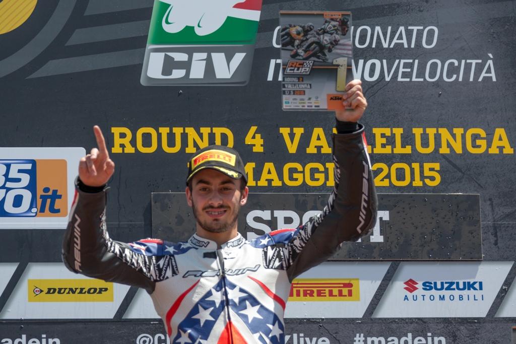 CIV 2015, KTM RC390, Paolo Arioni sul podio di Vallelunga Round 2