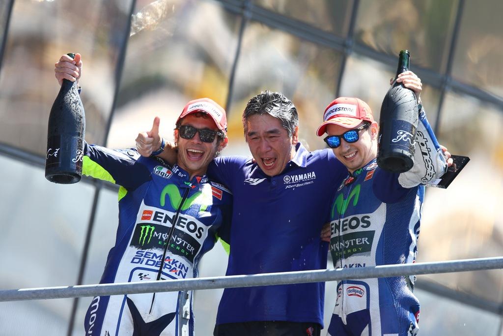 MotoGP 2015, GP Francia, il podio con Lorenzo e Rossi