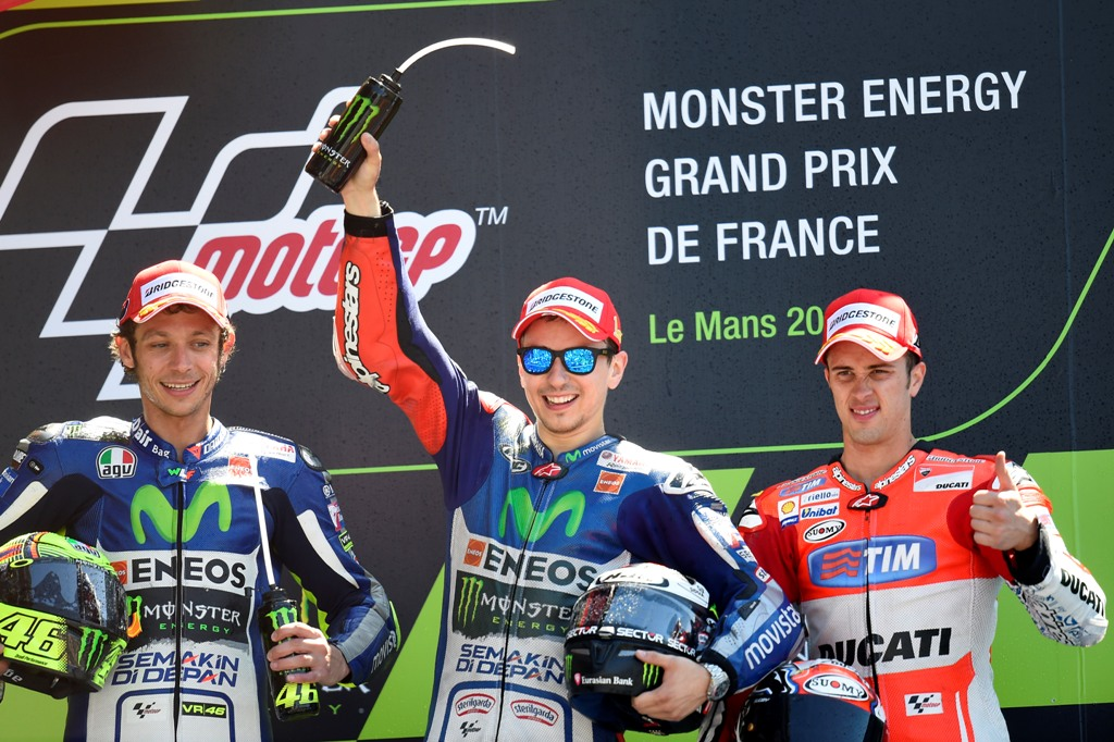 MotoGP 2015, Lorenzo, Rossi e Dovizioso a Le Mans