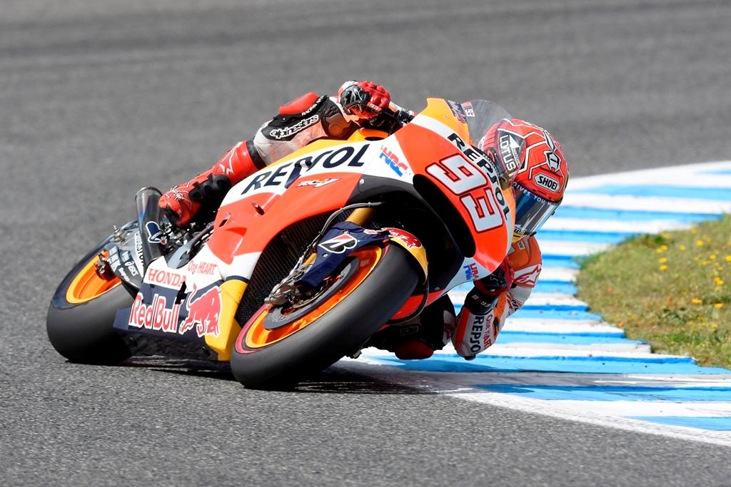 MotoGP, test Jerez dopogara, Marc Marquez, pochi giri con il nuovo forcellone HRC