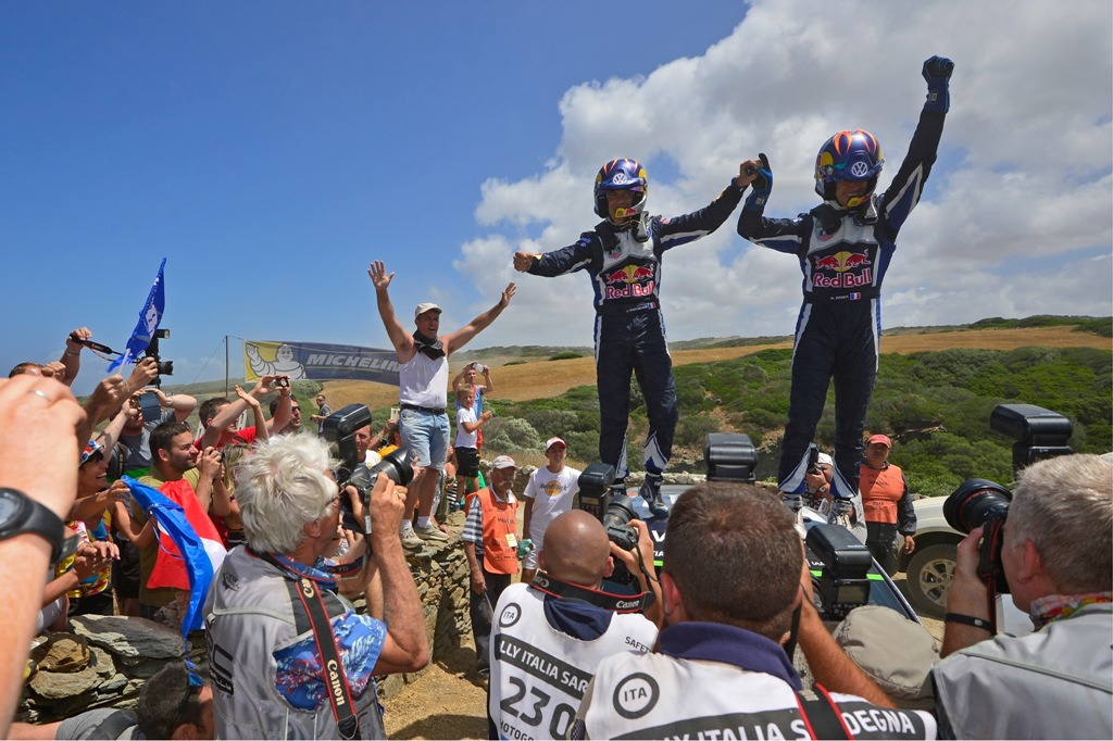 WRC 2015, Sardegna, podio con Ogier e Ingrassia