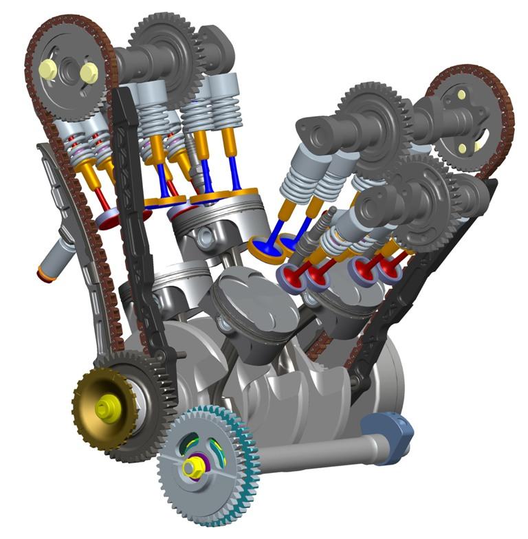 Aprilia RSV4, lo schema della distribuzione mista catena e ingranaggi