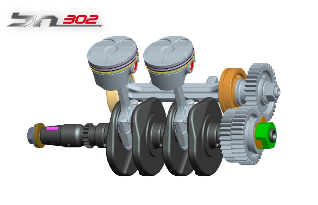 Benelli BN302, motore, manovellismo e albero di bilanciamento