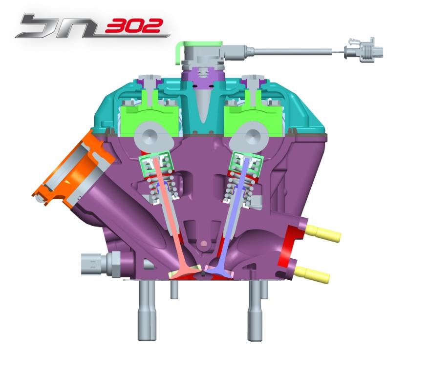 Benelli BN302, la testa ed i condotti di aspirazione e scarico del motore Benelli