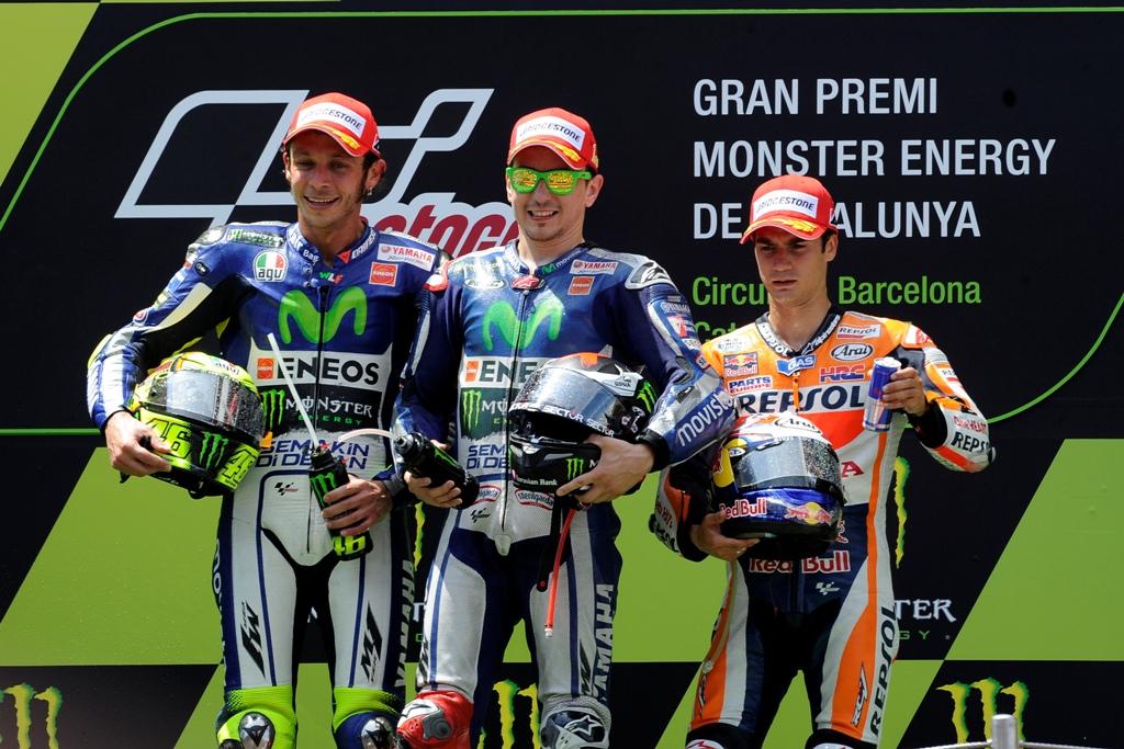 MotoGP Barcellona 2015, podio, Lorenzo, Rossi e Pedrosa