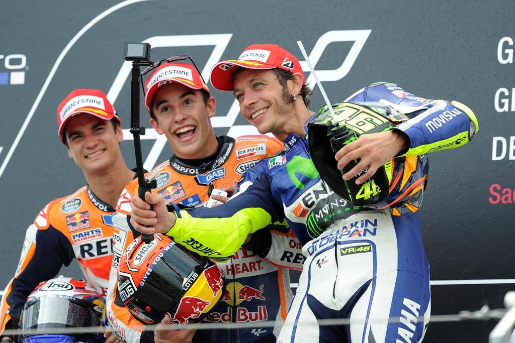 MotoGP 2015, podio gara, Marquez, Pedrosa e Rossi