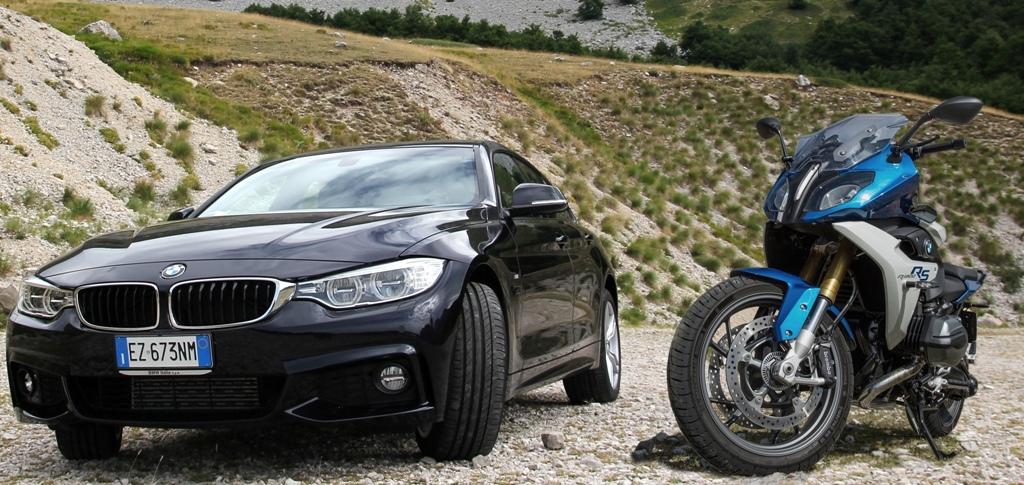La coppia della prova BMW: R1200RS e Serie 4d Gran Coupè