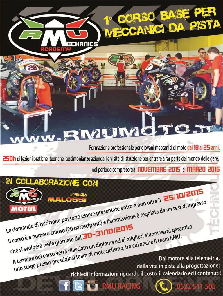 Il volantino della Academy RMU Racing