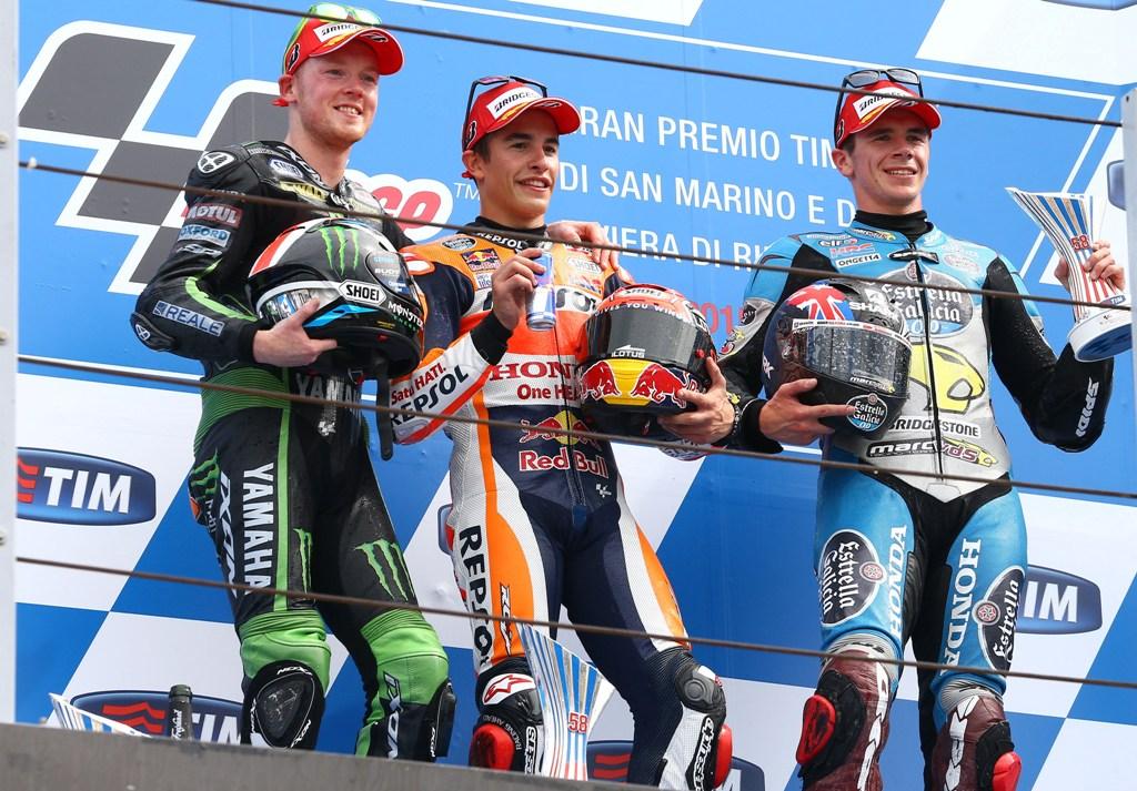 MotoGP Misano 2015, podio Marquez, Smith, Redding