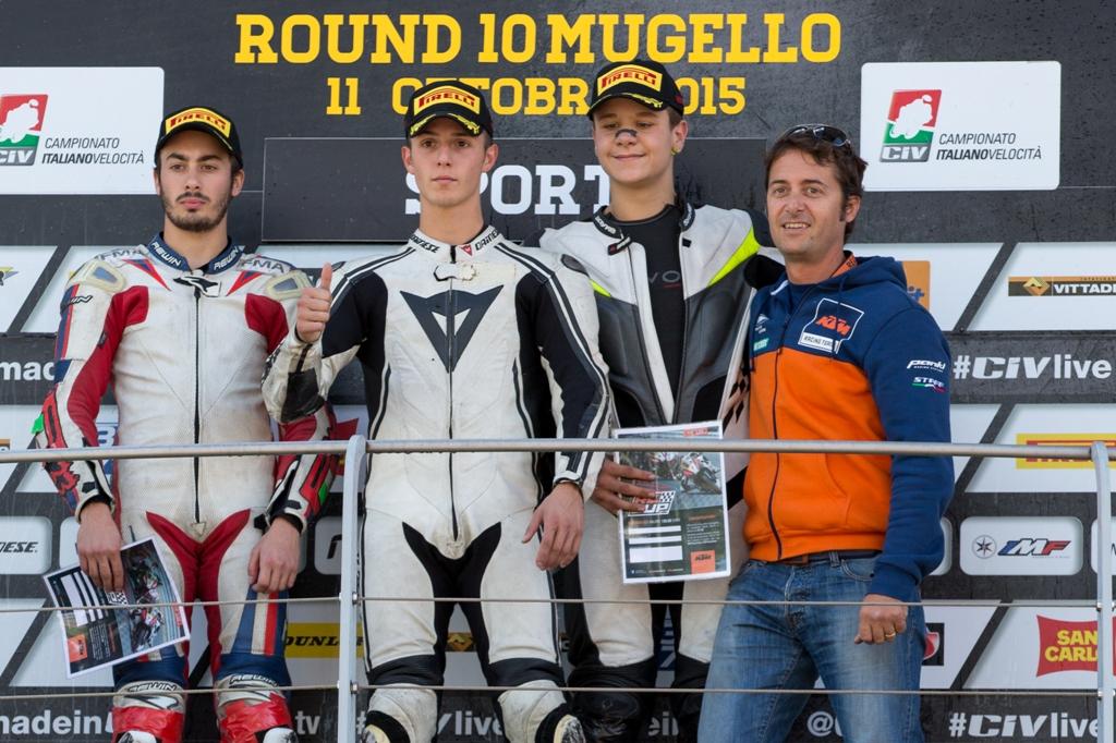 CIV 2015, podio KTM, Lumina, Arioni e Felappi