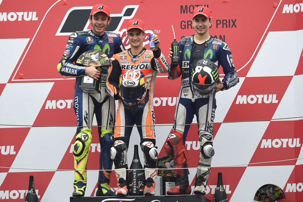 MotoGP Giappone 2015, il podio con Pedrosa, Rossi e Lorenzo