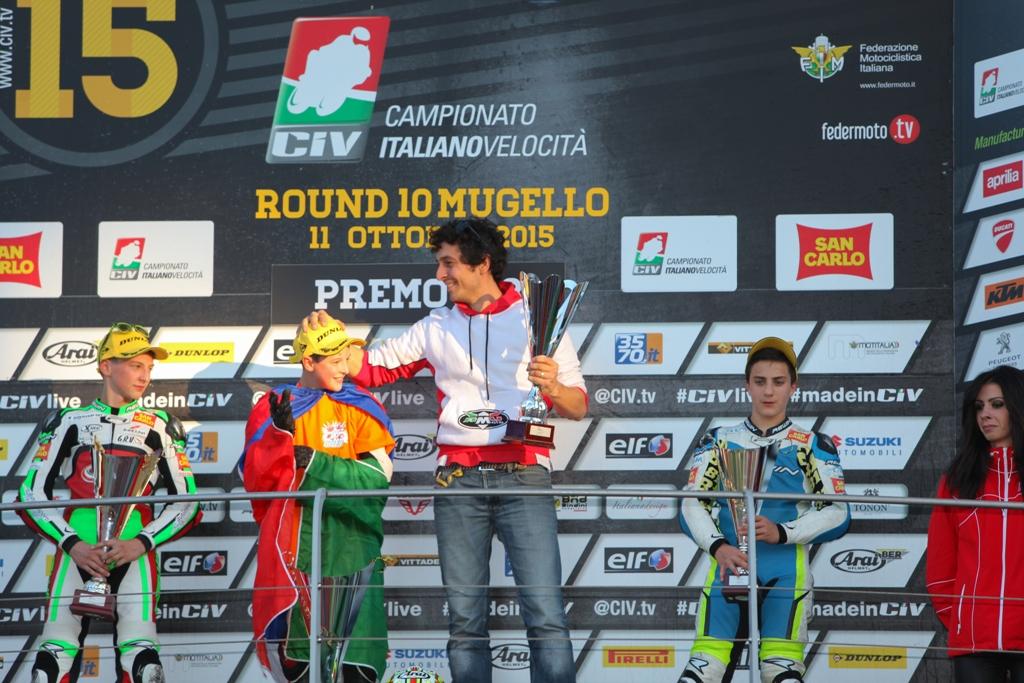 RMU, 2015 CIV; il podio del Mugello con Carraro, Bernardi e Cavaliere