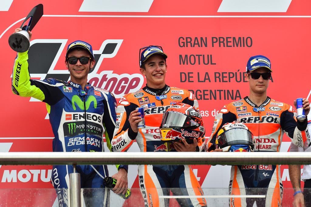 MotoGP 2016, Argentina, podio Marquez, Rossi, Pedrosa