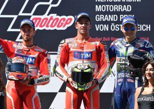 podio Red Bull Ring: Iannone, Dovizioso e Lorenzo