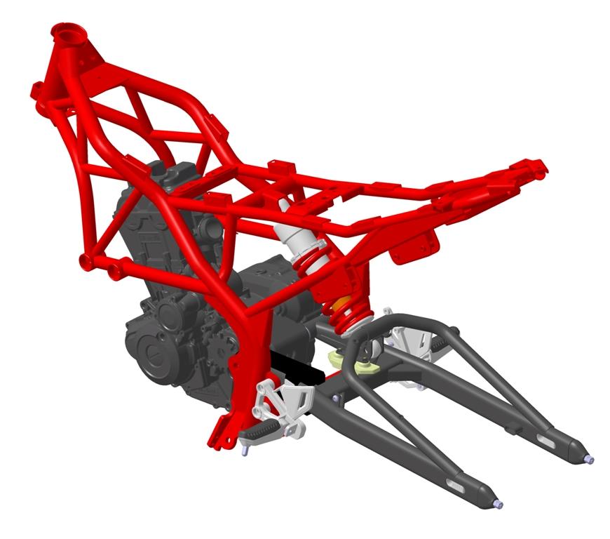 il CAD del telaio della Benelli 251