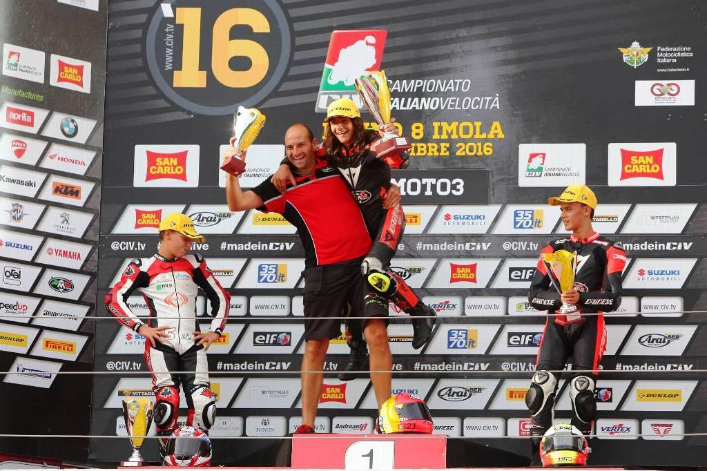 Festa RMU Bartolini e Rossi sul podio della 125cc, RMU Moto